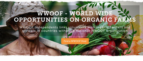an ad for the WWOOF company featuring a farmer with fresh produce