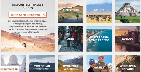 Responsible Travel hub ad depicting various regions of the world to find travel companies in