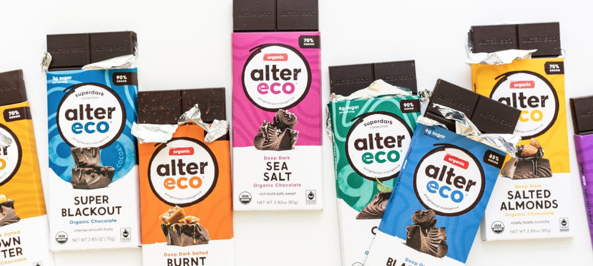 collection of Alter Eco chocolate bars