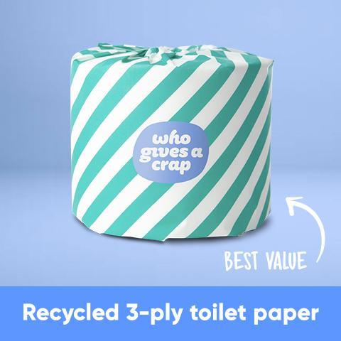 Who Gives a Crap brand toilet paper that's recycled 3-ply