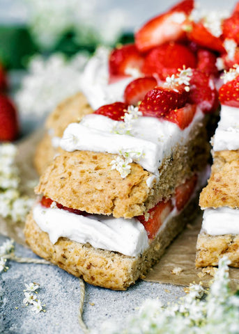 Strawberry and Elderflower Scone Cake with whipped cream