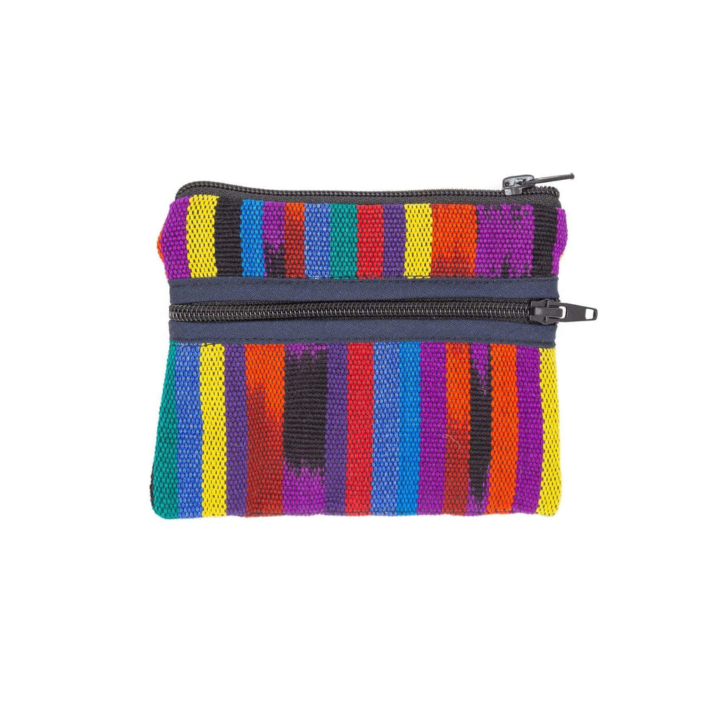 Guatemalan 3-Zip Coin Purse Bright Colors