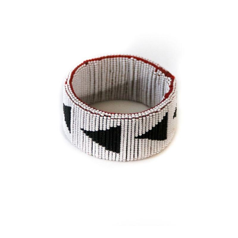 Kenyan jewelry, Beaded Wide Bangle with Black Arrows