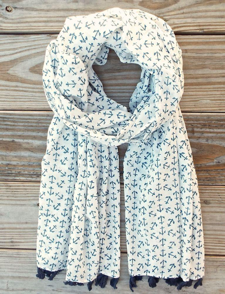 Anchor Blue Scarf - Passion Lilie - Fair Trade - Ethically Made Cotton ?id=9592473604