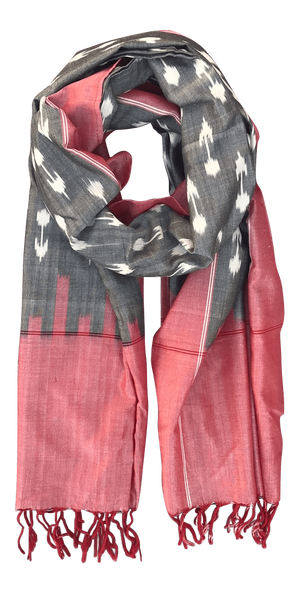 Apple & Grey Ikat Scarf
