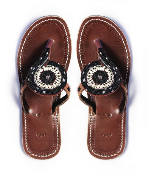 Black african beaded leather sandals with seashell accents