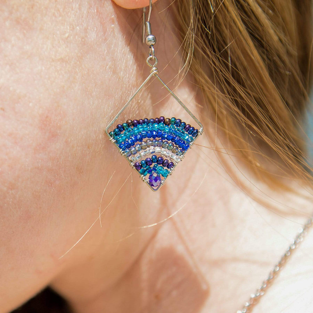 Ombre Triangle Wire and Bead Earrings
