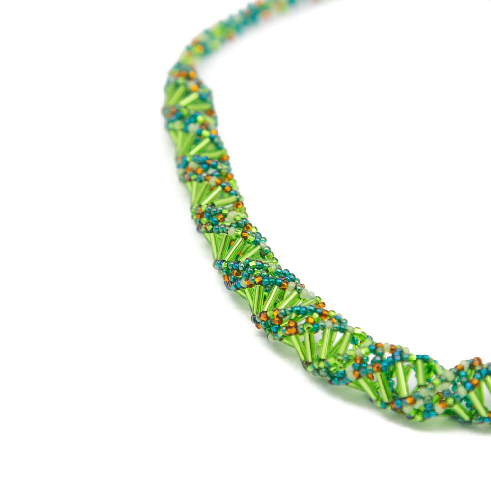 Guatemalan Double Helix Necklace Iridescent Green
