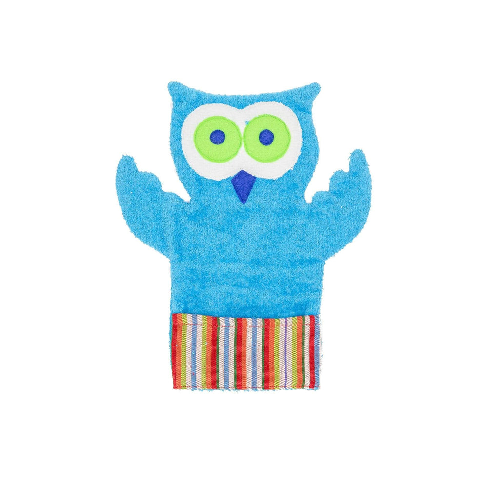 Fair Trade Puppet Washcloth Owl Turquoise