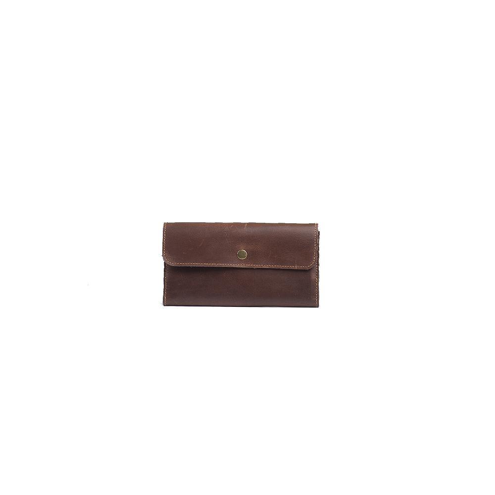 Leather Wallet in Distressed Walnut