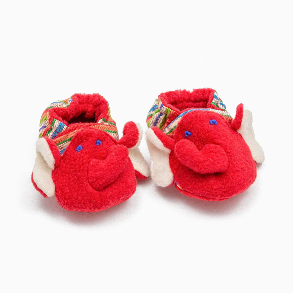 Fair Trade Elephant Baby Booties Red