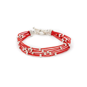 Fair Trade Multi Strand Slider Bracelet Red