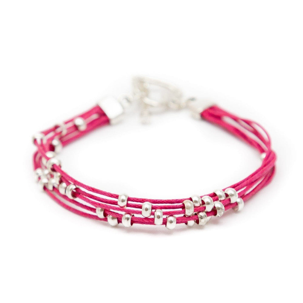 Fair Trade Multi Strand Slider Bracelet Pink
