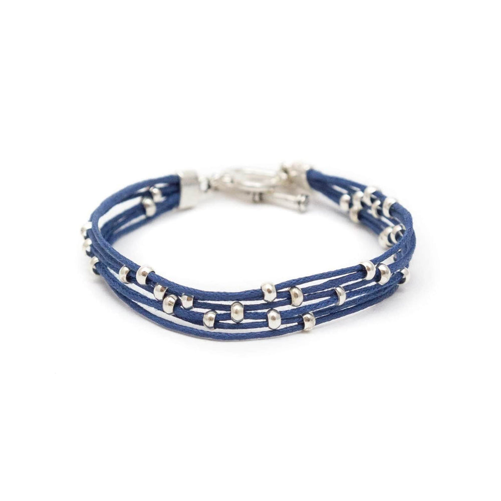 Fair Trade Multi Strand Slider Bracelet Blue