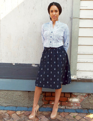 Navy Stars Midi Skirt - Passion Lilie - Fair Trade - Ethically Made Cotton ?id=23095981969