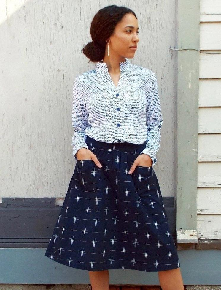 Navy Stars Midi Skirt - Passion Lilie - Fair Trade - Ethically Made Cotton ?id=6125012910138