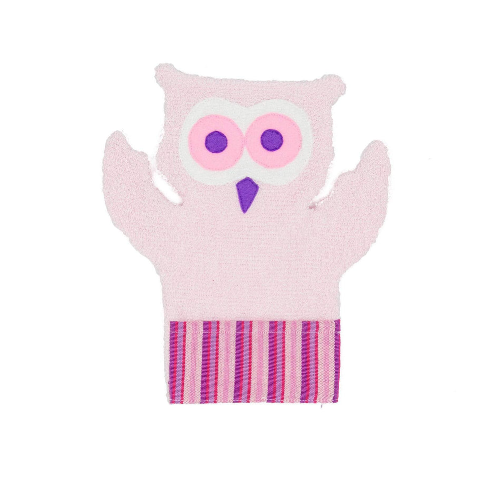 Fair Trade Puppet Washcloth Owl Pink