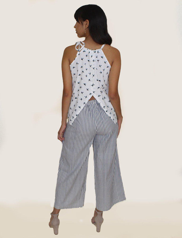 Pinstripe Crop Pants - Passion Lilie - Fair Trade - Ethically Made Cotton