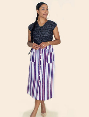 Plum Striped Skirt - Passion Lilie - Fair Trade - Ethically Made Cotton ?id=7977943662650
