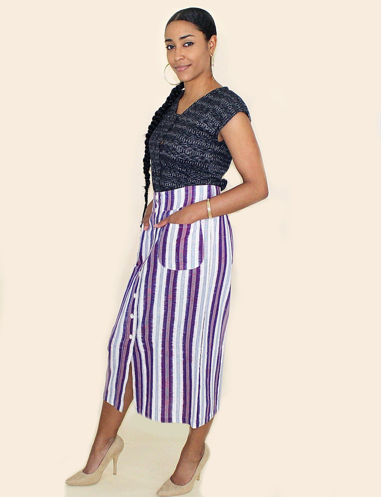 Plum Striped Skirt - Passion Lilie - Fair Trade - Ethically Made Cotton ?id=7977942843450