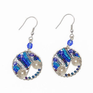 Round Wire Spiral and Bead Earrings