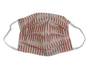 Salmon Stripes Cotton Face Mask with Filter