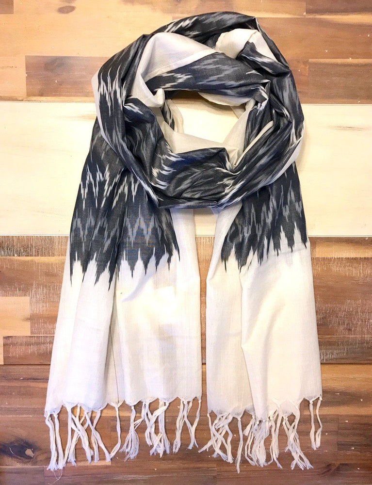 Winter Grey Ikat Scarf - Passion Lilie - Fair Trade - Ethically Made Cotton ?id=22917371089