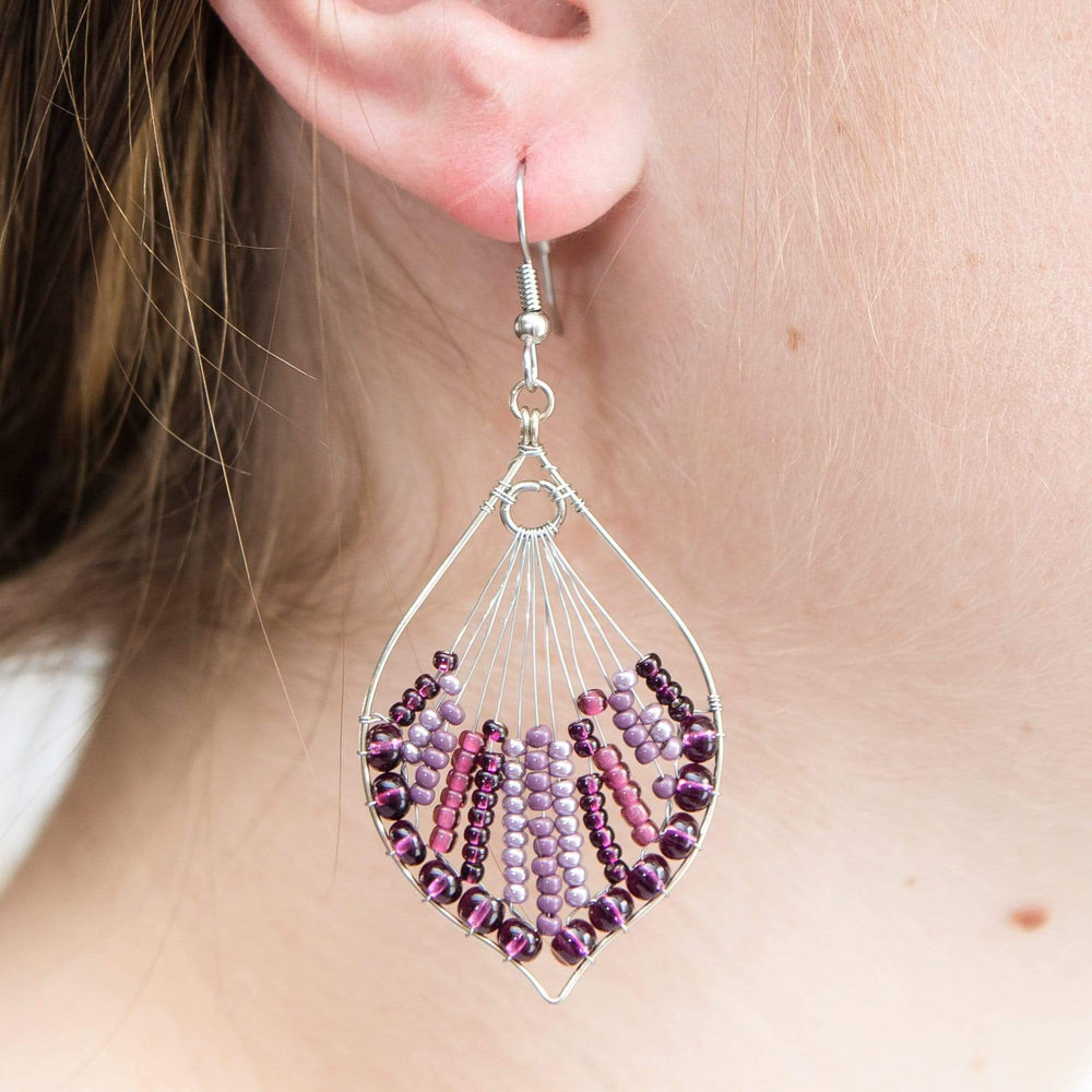 Wire and Bead Leaf Earrings