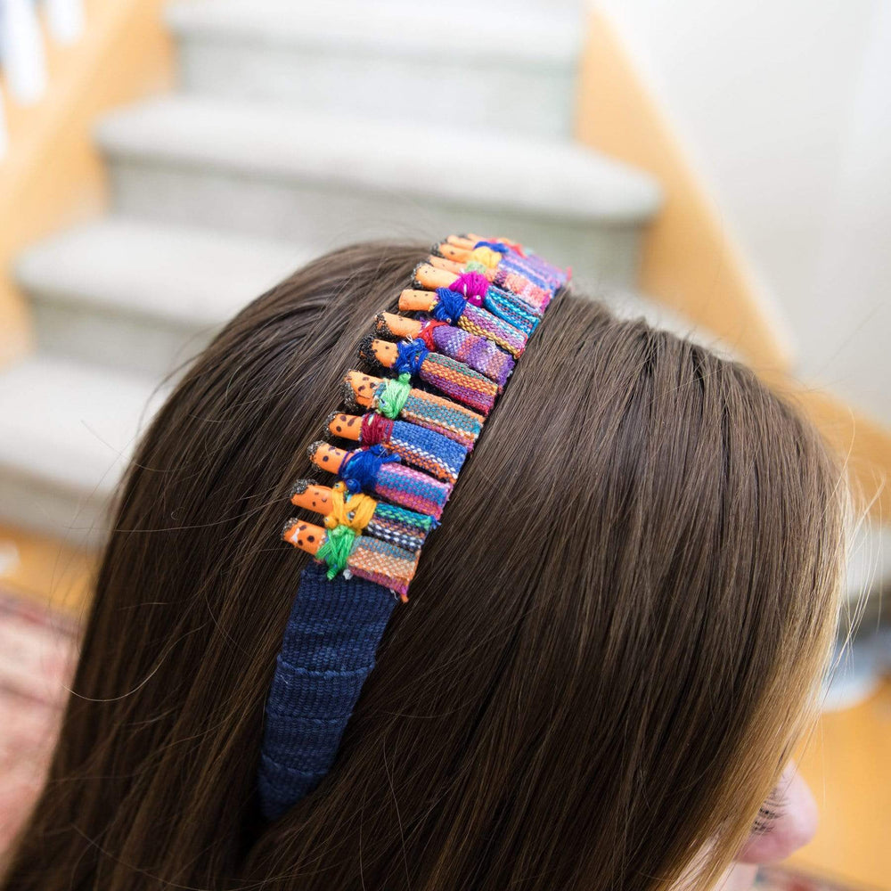Model Wearing Fair Trade Worry Doll Headband
