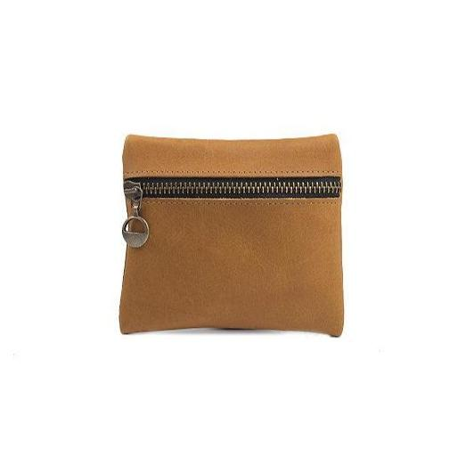 Leather Coin Purse in Camel