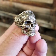 Load image into Gallery viewer, Bronze Flourish Skull Ring