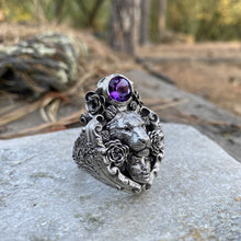 Load image into Gallery viewer, Floral Tigress Gemstone Ring Sterling