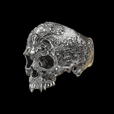 Ornamental Skull Ring 1 Sterling Silver