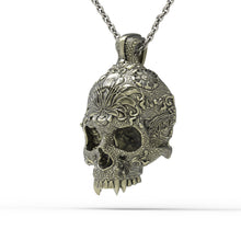 Load image into Gallery viewer, Bronze Ornamental Skull Pendant