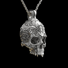 Load image into Gallery viewer, Ornamental Skull Pendant Sterling Silver
