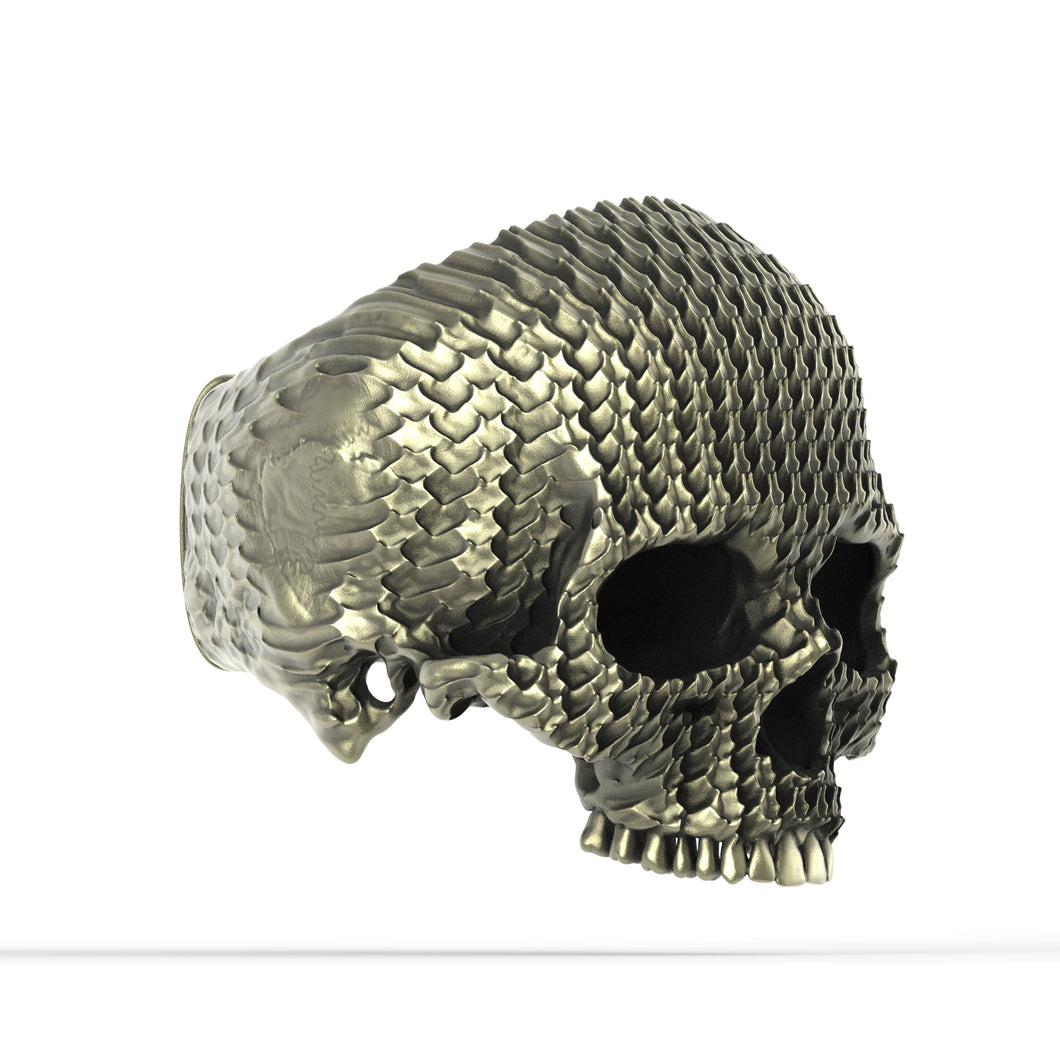 Bronze Ripple Skull Ring