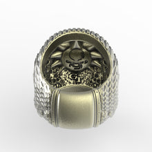 Load image into Gallery viewer, Bronze Ripple Skull Ring