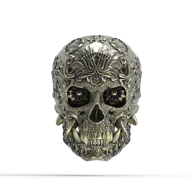 Bronze Ornamental Oni Skull Ring