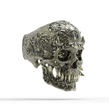 Load image into Gallery viewer, Bronze Ornamental Oni Skull Ring