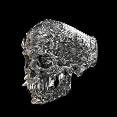 Ornamental Oni Skull Ring Sterling