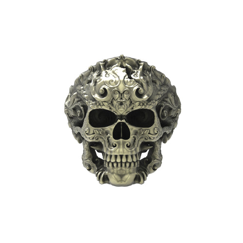 Bronze Flourish Skull Ring