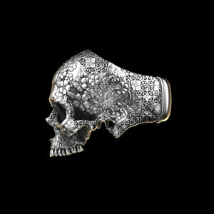 Japanese Garden Skull Ring Sterling Silver