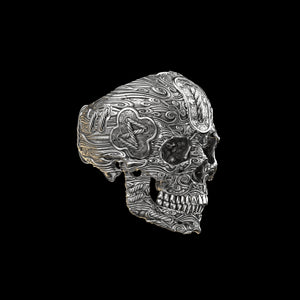 Tied Wind Skull Ring Sterling