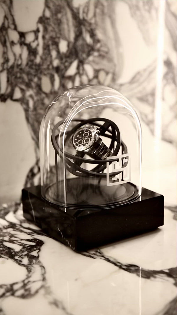 One Planet Double Axis Watch Winder on marble table movie
