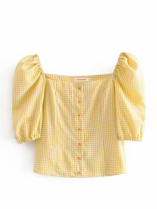 GELB KARIERTES SQUARE NECK BUTTON DOWN TOP