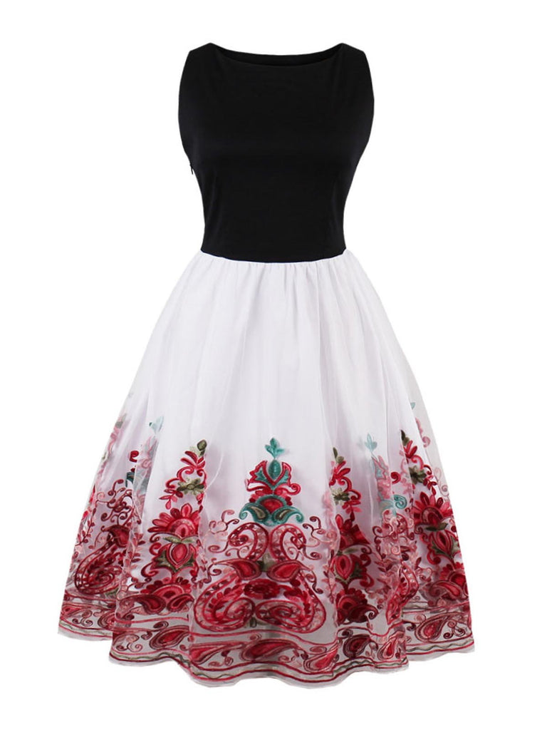 1950ER STICKEREI ROT SWING KLEID