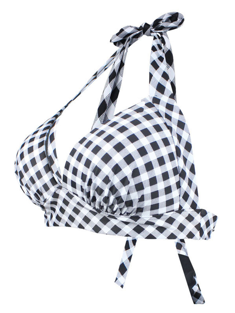 VINTAGE PLAID NECKHOLDER BIKINI BOW TOP