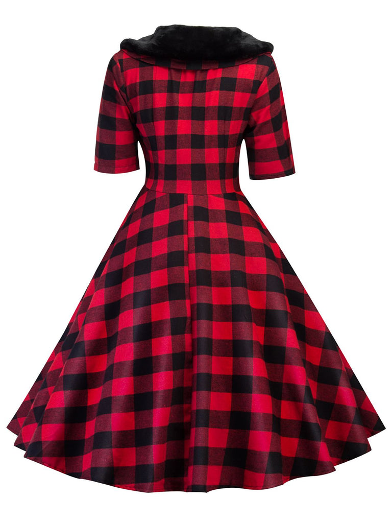 1950ER PLAID KURZARM VINTAGE SWING KLEID