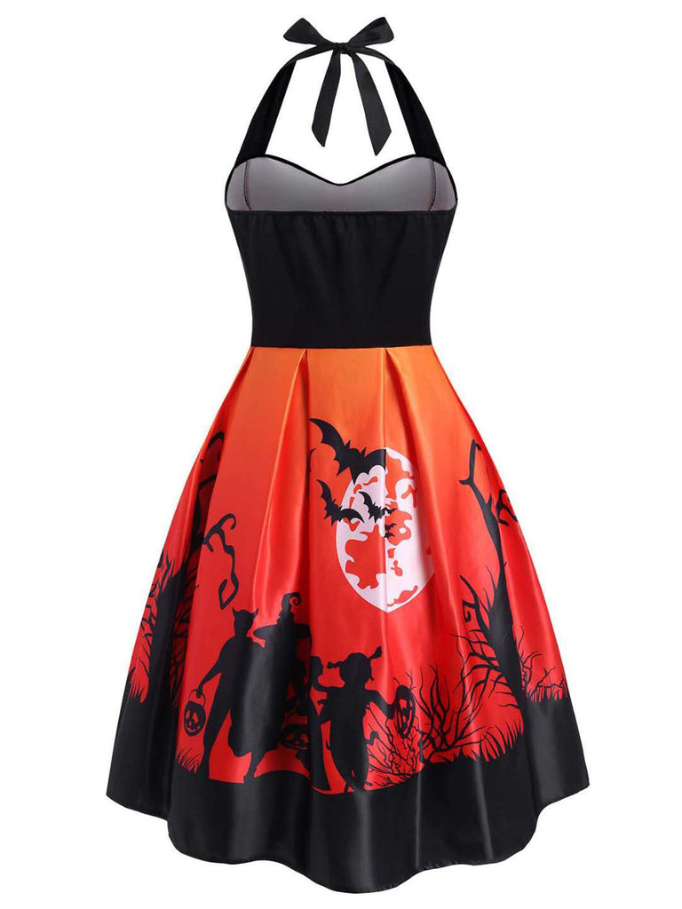 1950ER NECKHOLDER HALLOWEEN SWING KLEID