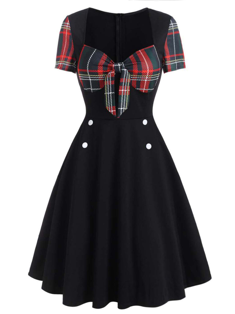 1950ER PATCHWORK PLAID KURZARM SWING KLEID